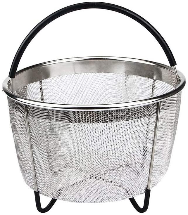 6 Quart Steamer Basket,Instant Pot Steamer Basket,Stainless Steel Steamer Basket with Black Handle for Pressure Cooker Accessories,Vegetables,Eggs