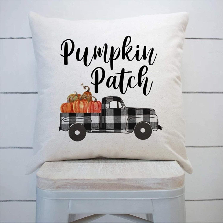 DONL9BAUER Pumpkin Patch Buffalo Plaid Truck Farmhouse Cushion Cover Fall Autumn Decor,Housewarming Present Decorative Throw Pillow Covers for Sofa Couch 18X18 Cotton Home Decor