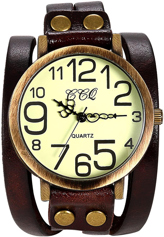 Ladies Unisex Vintage Large Arabic Markers Multi Layers Leather Wrap Cuff Bracelet Wrist Watch