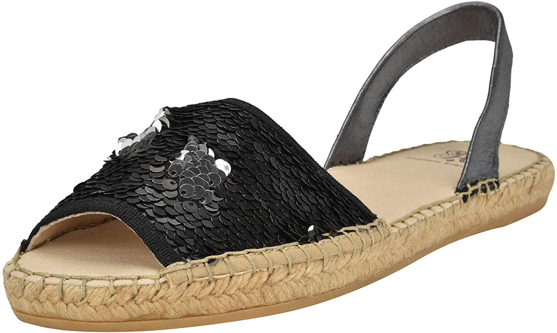 ANDREW STEVENS Jenna Fashion Platform Flat Sandals for Women | Sparkling Espadrille Slip-on Shoes with Two Tone Embellished Sequins, Ankle Strap, Open-Toe, Salmon-Silver/Rose Gold, Black, Beige-Gold
