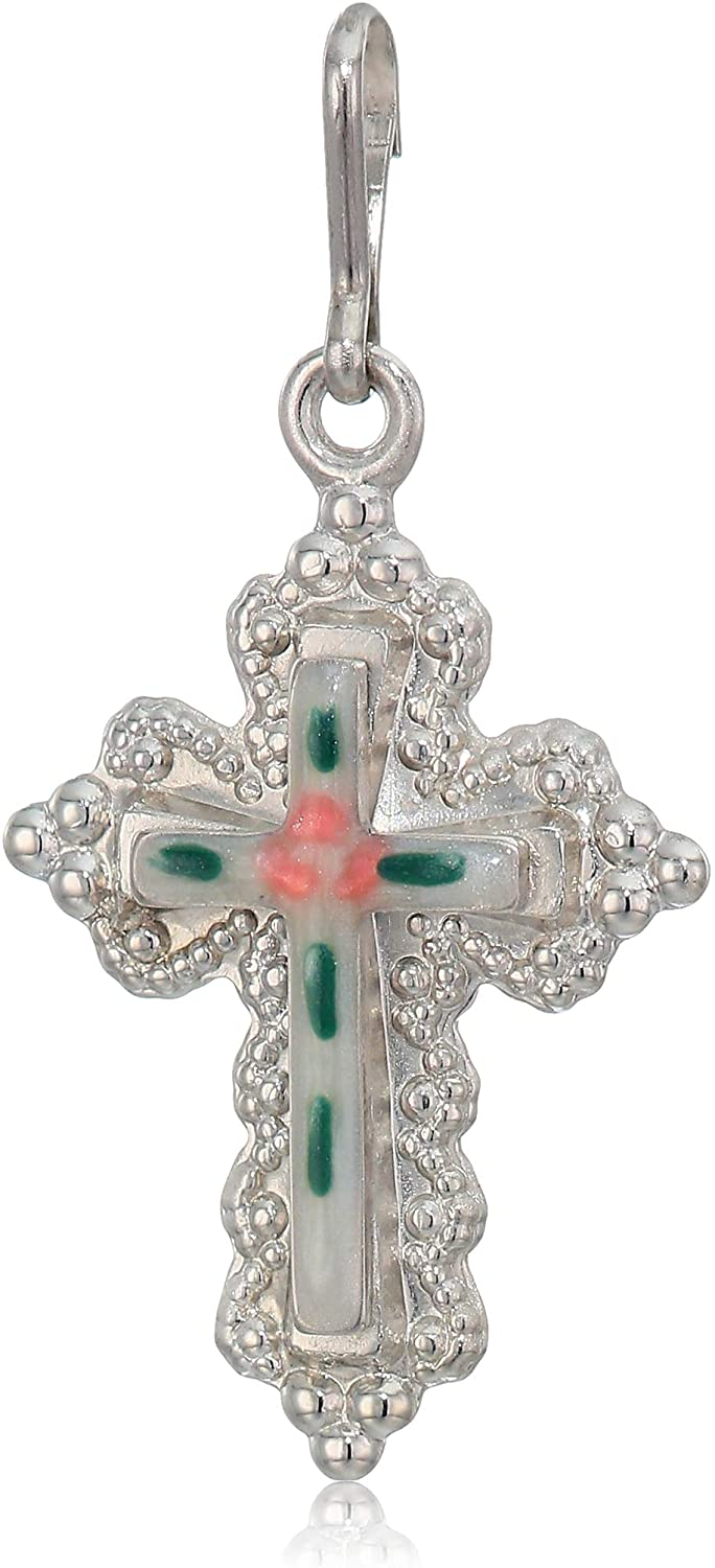 Alex and Ani Womens Floral Cross Sterling Silver Charm, Expandable