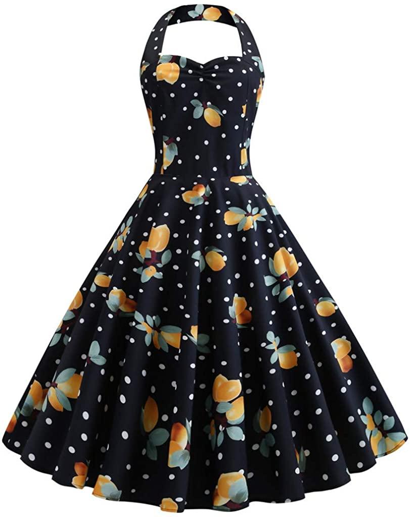Women's Vintage Polka Halter Dress Floral Sping Retro Rockabilly Cocktail Dress