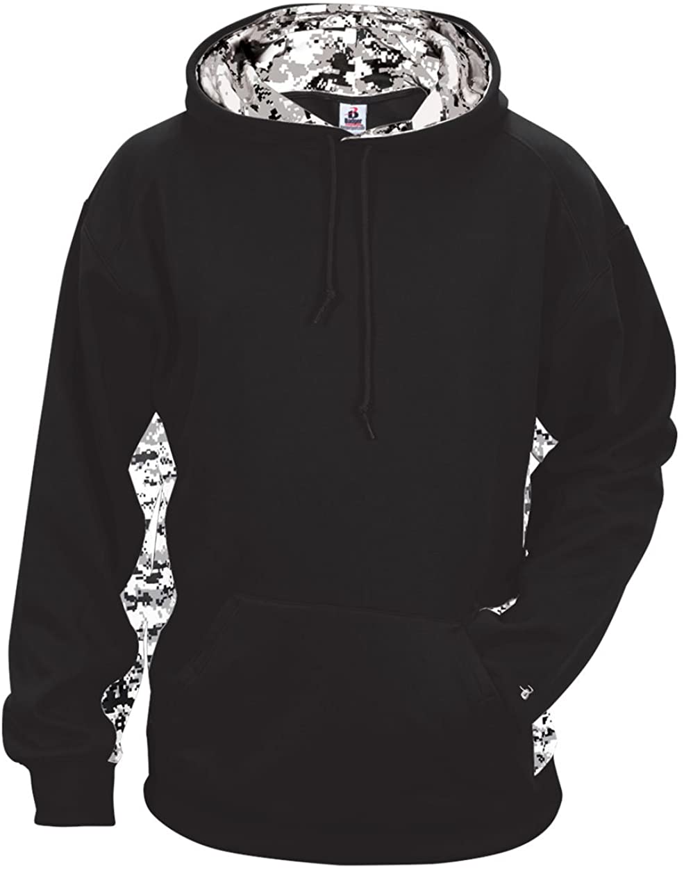 Badger Sport Black Adult Large with White Digi-Camo Sides and Inner-Hoodie