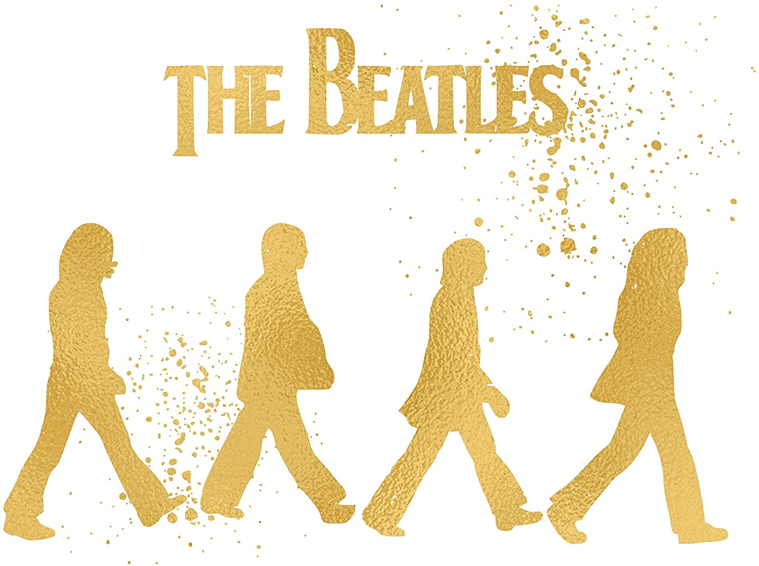 Simply Remarkable Inspired by The Beatles - Poster Print Photo Quality - Made in USA - John Lennon, Paul McCartney, George Harrison and Ringo Starr -Frame not Included (8x10, Beatles Walking Gold)