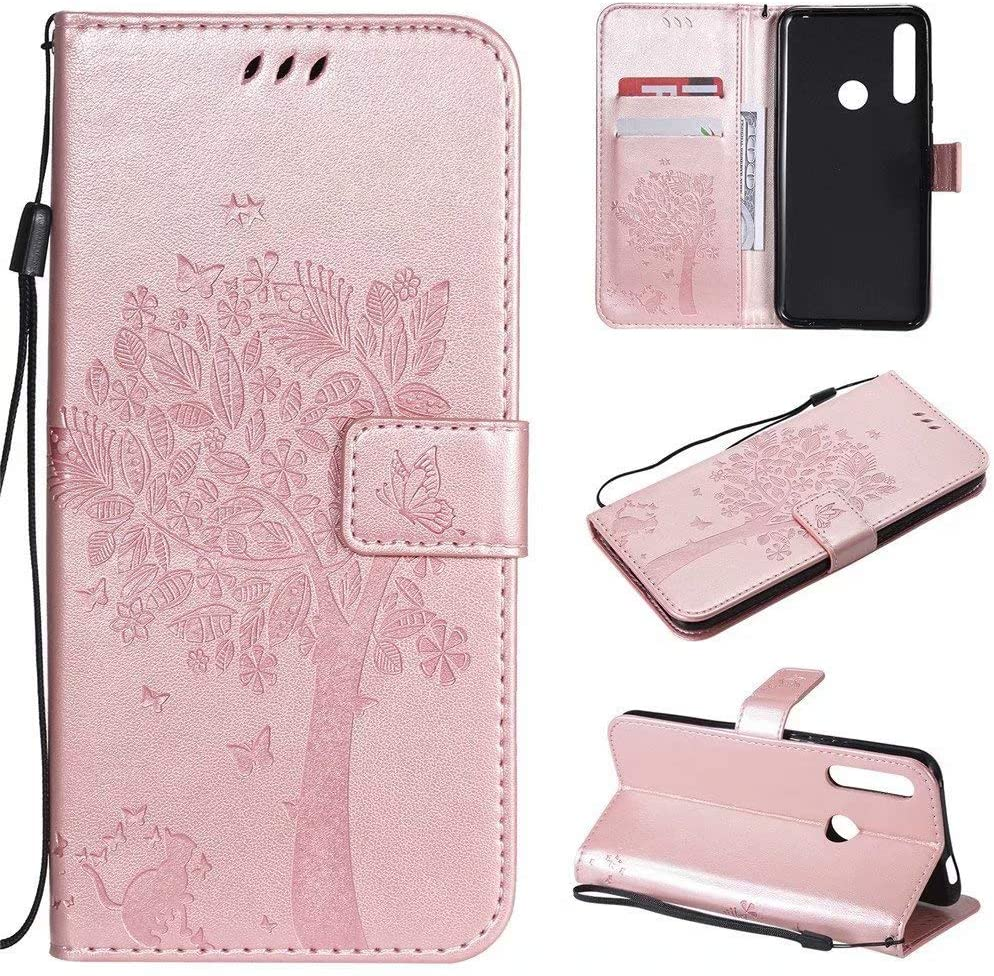 Abtory Case for Huawei P Smart Z, Huawei P Smart Z Wallet Cover, PU Leather Magnetic Flip Folio Embossed Tree Case Cover with Card Slot Cash Compatible with Huawei P Smart Z Rose Gold