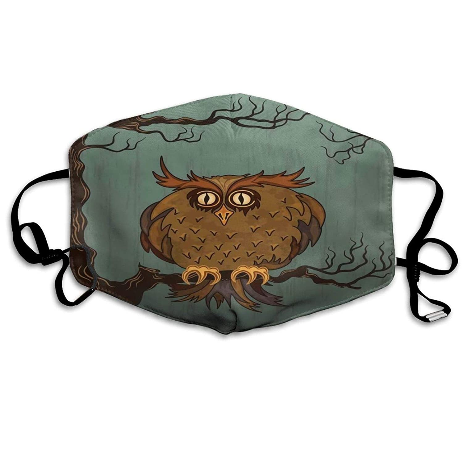Comfortable Activated carbon mask,Exhausted Hangover Tired Owl in Oak Tree with Eyebrows Nature Cartoon Fun Artwork,Printed Facial decorations for adult