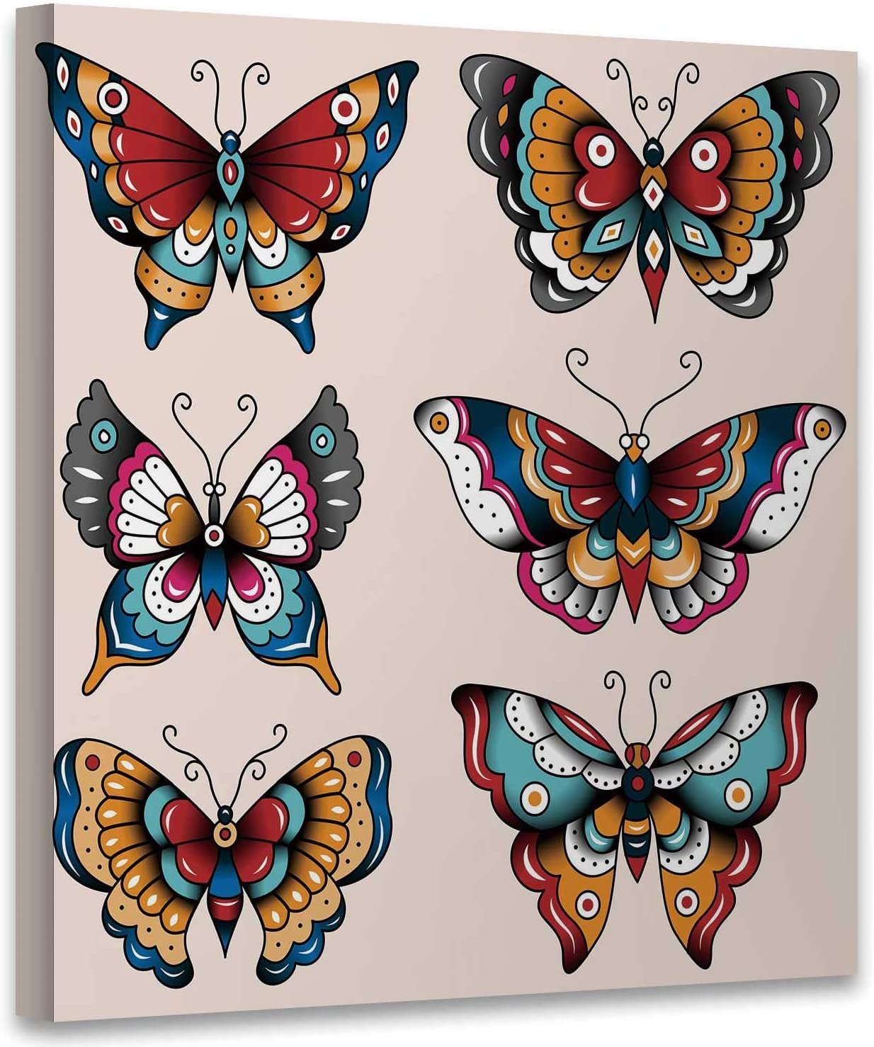 Hitecera Set of Old School Tattoo Art Butterflies for Design and Decoration,Canvas Wall Art Canvas Printed Painting Bedroom Wall Decor 12x12 Inches
