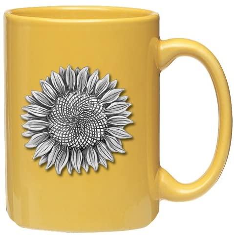 1pc, Pewter Sunflower Coffee Mug, Yellow