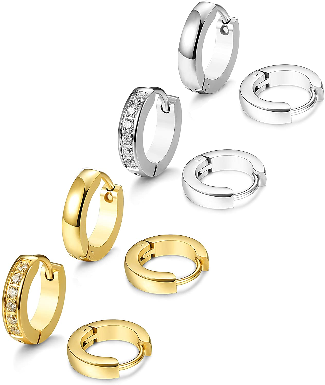 JOERICA 4 Pairs Stainless Steel Small Hoop Earrings for Men Women Ear Piercing,13MM
