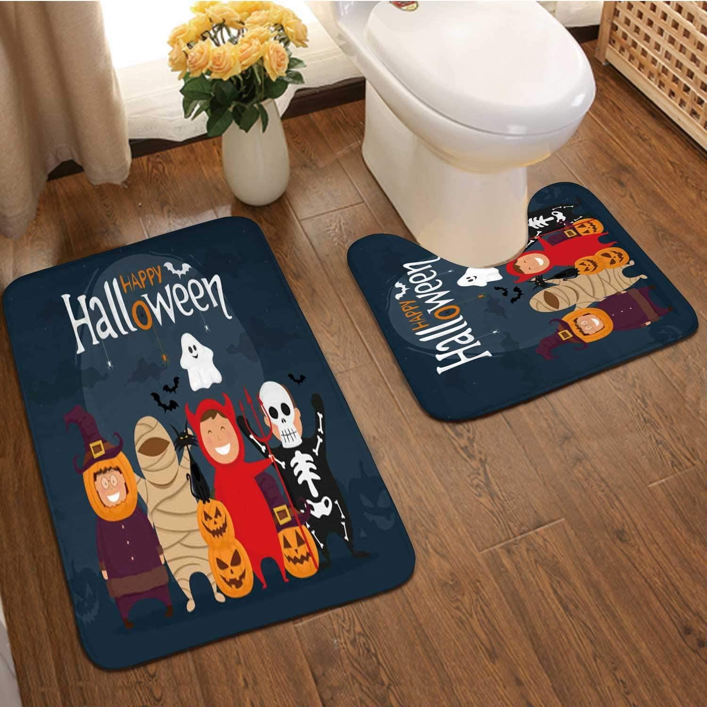 Happ Halloween with Kids in - s.Mumm,Bathroom Bath Mat Set, Soft Plush Non-Skid Shower Rug +Toilet Mat -