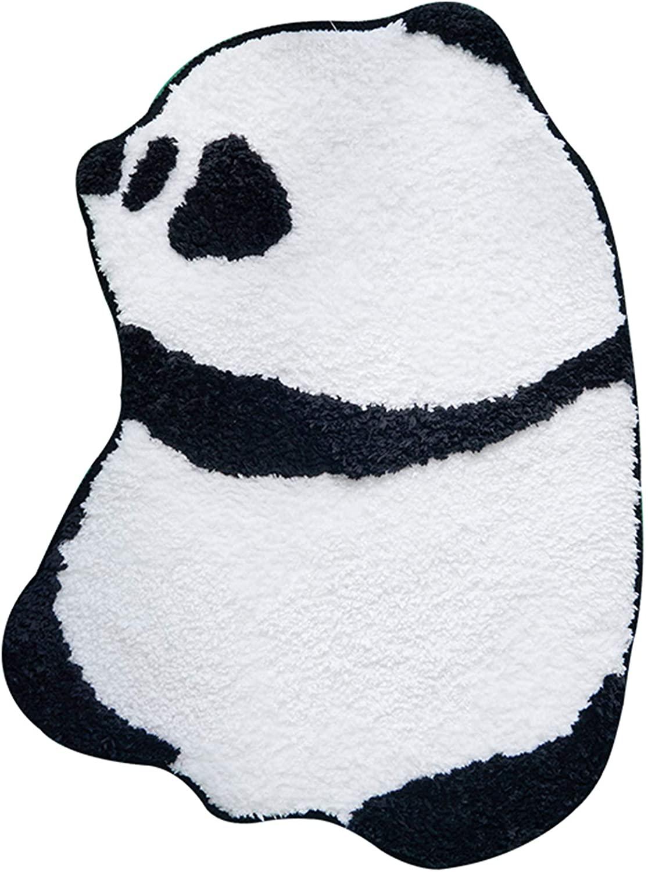 HAPLOVE Panda Shape Microfiber Soft Bathroom Rugs Non Slip Shag Bath Mat Rug for Kitchen Bedroom Rubber Shower for Floor Living Room Mats Water Absorbent Washable,22x29.5 inches