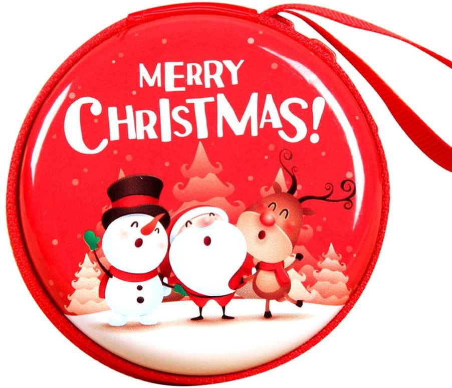 UOKNICE Christmas Zipper Earphone Headphone Money Box Bag SD Card Carrying Pouch Storage Xmas Gift Decorations