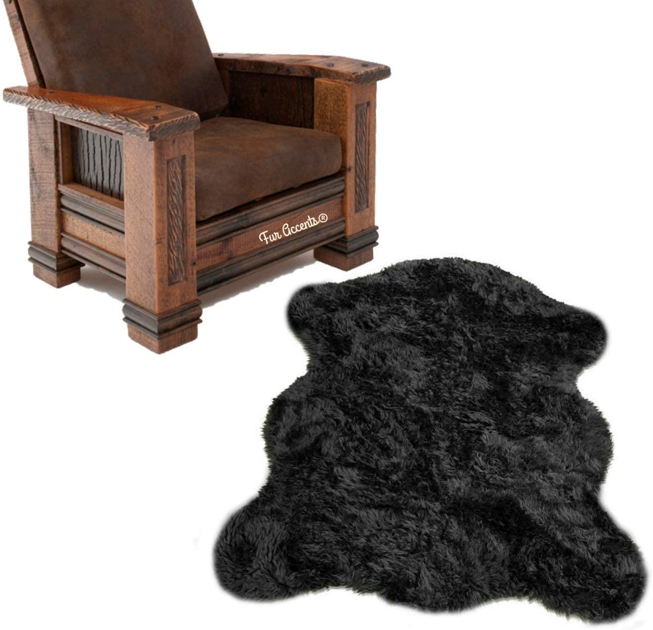 Fur Accents Faux Fur Bear Skin Area Rug, Black Chubby Bear, Shag Rug, Cabin, Lodge, Man Cave, Living Room, Bedroom, Hand Made in America, 4'x5'