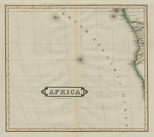 South-west Africa. Angola Namibia Gabon Congo. Skeleton Coast. LIZARS - 1842 - Old map - Antique map - Vintage map - Printed maps of Angola