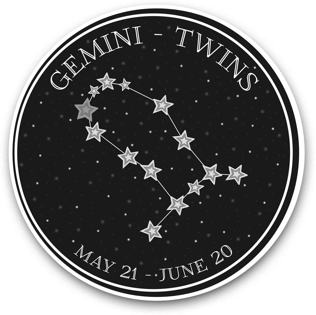 Awesome Vinyl Stickers (Set of 2) 7.5cm (bw) - Gemini Constellation Stars Horoscope Fun Decals for Laptops,Tablets,Luggage,Scrap Booking,Fridges,Cool Gift #40733
