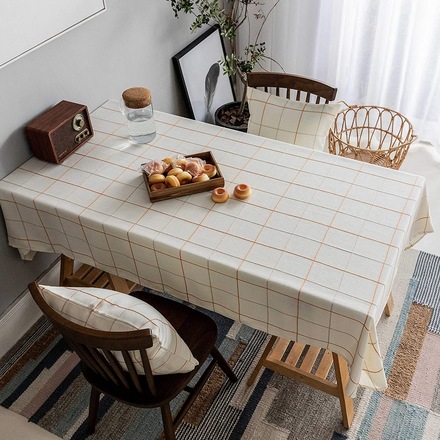 Home Brilliant Square Table Cloth for Christmas Country Farmhouse Holiday Stitch Table Covers for Dining Table Kitchen Outdoor Indoor, 52x52 Inches, Cream