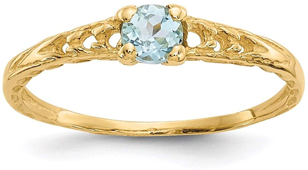 14k Yellow Gold 3mm Blue Aquamarine Birthstone Baby Band Ring Size 3.00 March Fine Jewelry For Women Gifts For Her