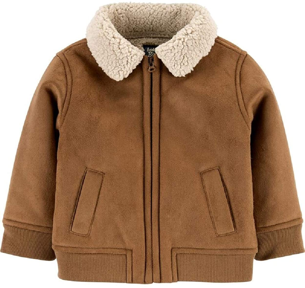 OshKosh B'Gosh Baby Soft Faux Suede Poodle Fleece Bomber Jacket Size 12 Months Brown, Ivory