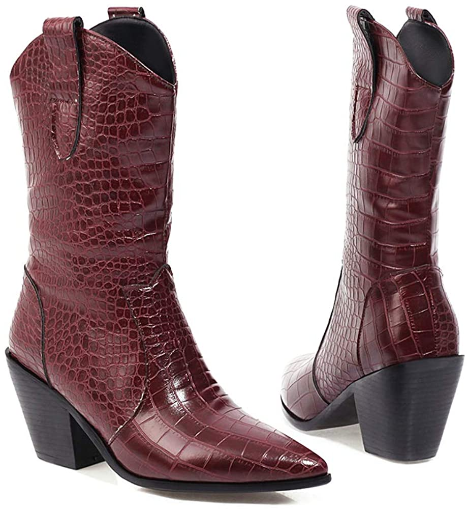 LEHOOR Women Combat Chunky Block Heel Pointed Toe Mid Calf Boots High Top Stone Pattern Slip On Shoes Warm Western Cowgirl Big Size 4-15 M US