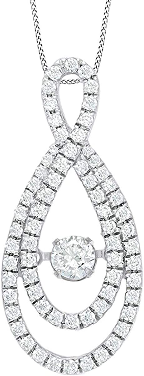AFFY White Natural Dancing Natural Diamond Infinity Pendant Necklace in 14K Solid Gold (0.75 Cttw)