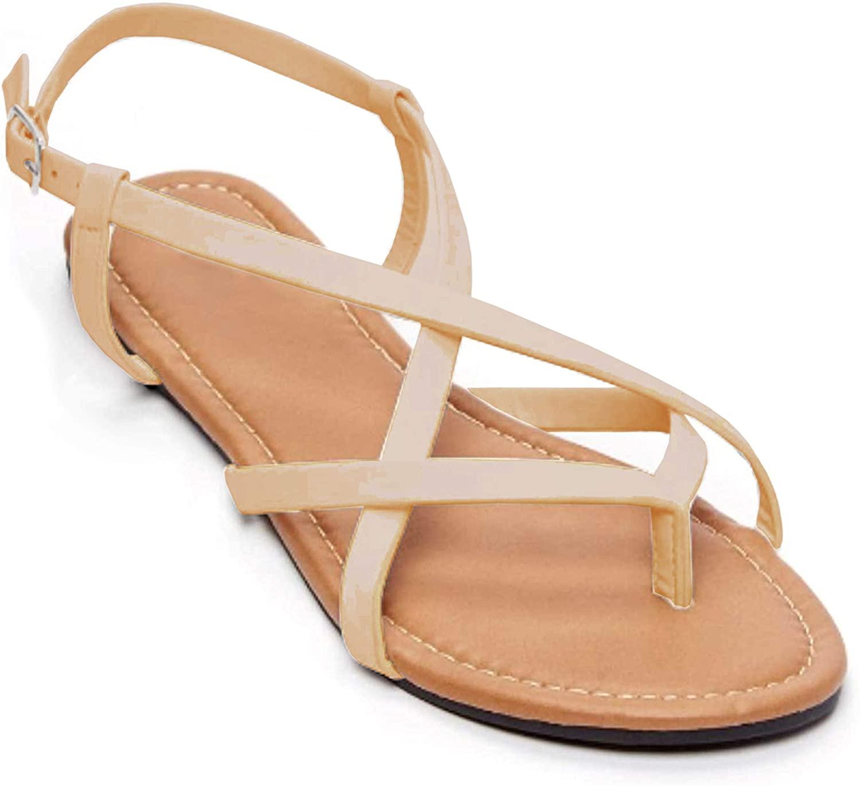 Braided Flip Flop Cross Strap Slingback Sandal-Flat Womens Sandals-Flat Sandals