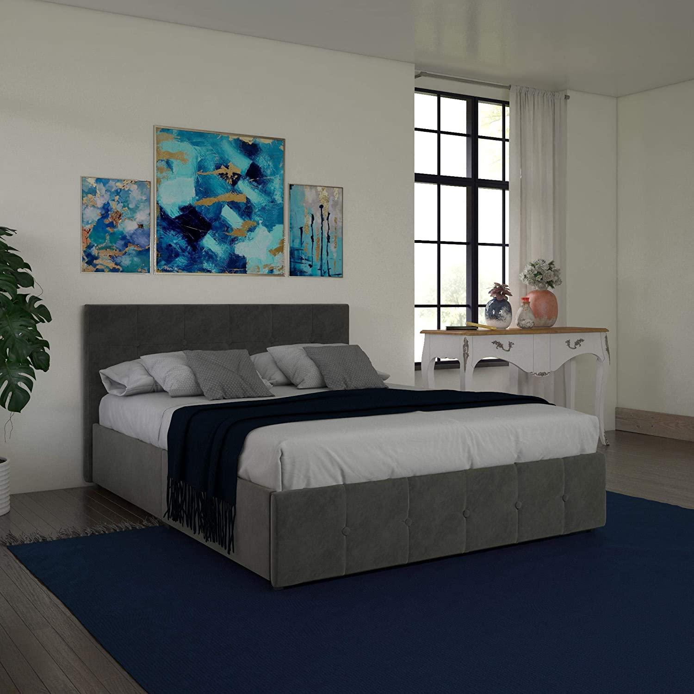 DHP Rose Storage Upholstered Bed, Gray Velvet, Queen