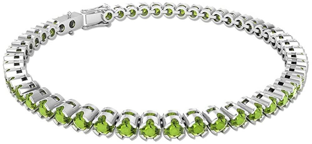 5.88 Ct SGL Certified Peridot Tennis Bracelet, Wedding Birthstone Bracelet, Art Deco Statement Bracelet, Stacking Sister Bracelet
