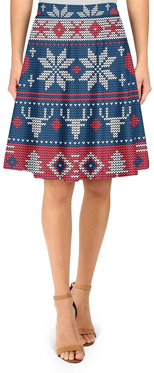 Rainbow Rules A-Line Skirt - Ugly Christmas Sweater Navy & Red