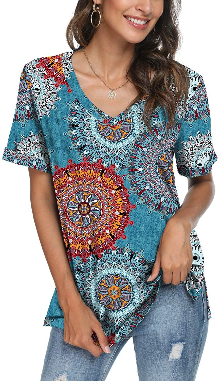 LONGYUAN Women's Comfy Loose Fitting Tshirt Short Sleeve Vneck Side Split Cotton Tops