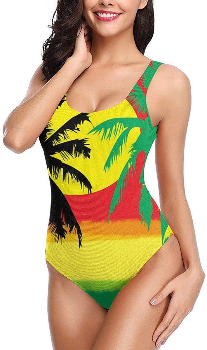 Rasta Palm Tree Womens Classic One Piece Swimsuit Triangle Bath Suit