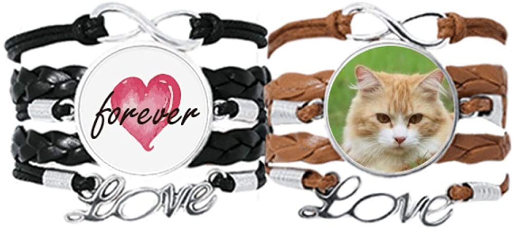DIYthinker Yellow Stripes Cat Stare Pet Animal Bracelet Hand Strap Leather Rope Forever Love Wristband Double Set