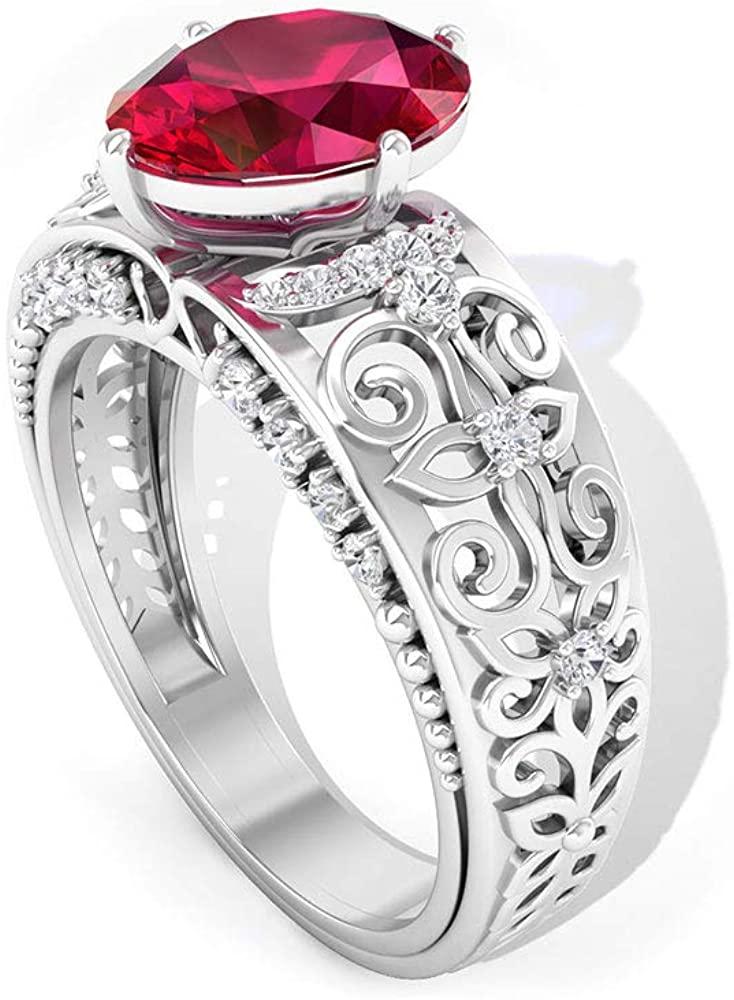 2.2 Ct Ruby Gold Filigree Wedding Ring, 0.30 Ct SGL Certified Diamond Beaded Ring, HI-SI Color Clarity Diamond Bridal Ring, Oval Shape Gemstone Ring, 10K Gold