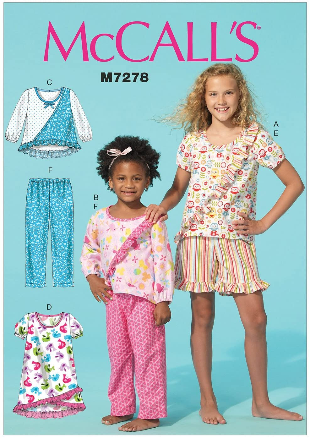 McCall's Patterns M7278 Children's/Girls' Tops, Dress, Shorts and Pants, Size CHJ (7-8-10-12-14)