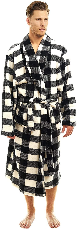 TrailCrest Men's Luxurious Robe - Plush Warm Coral Fleece Lounging Kimona - Classic Shawl Collar in Bold Plaids