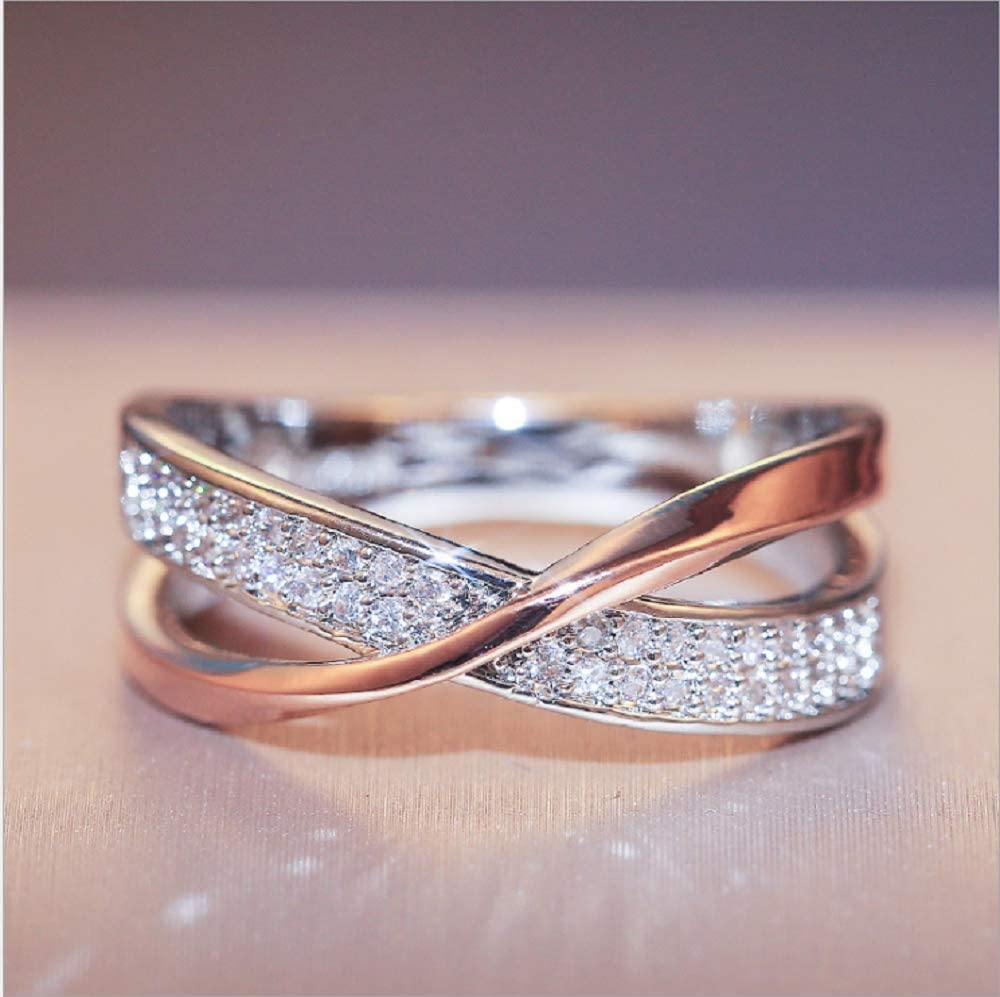 Fashionable and Simple Personality X-Shaped arms Two-Color Cross Set 3A Zircon Rose Gold Silver Engagement Ring for Women (6)