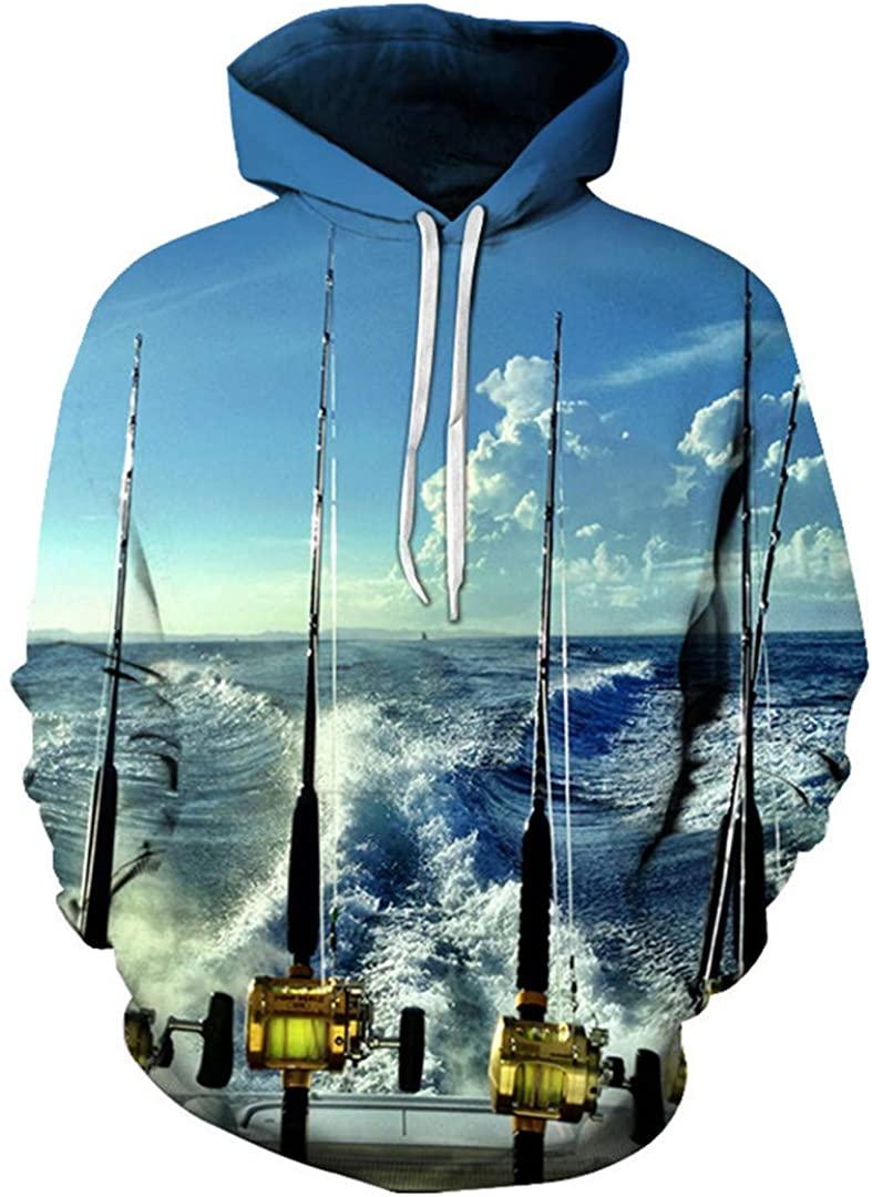 Fishing Rod Printed Hoodies Sweatshirts Men Casual Tracksuits Funny 3D Hoodie Novelty Coats Boy Outwear Harajuku