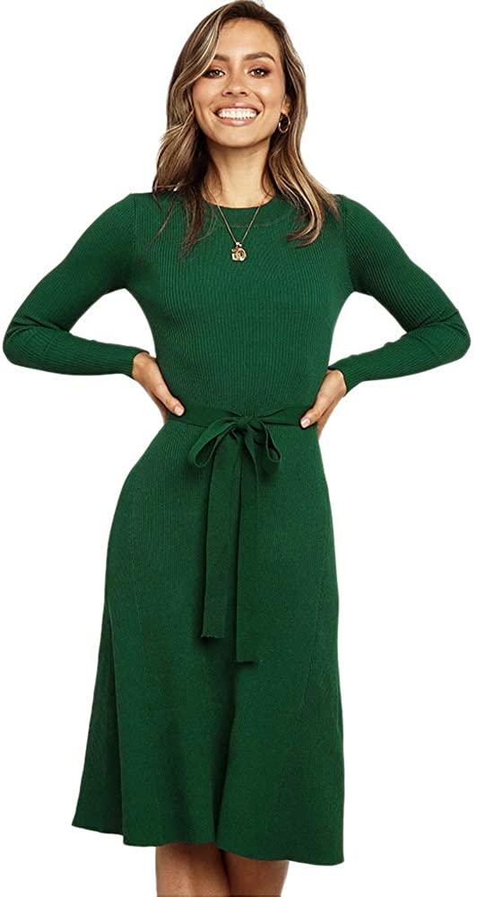 Noblik Elegant A-line Women Sweater Dress Autumn Winter Knitted Pullover Dress Female Midi Knitted Jumpers Dress Green S