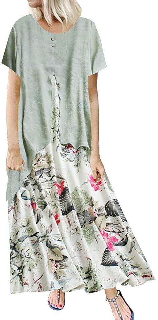 Dress Women Party,Women Vintage Print Patchwork O-Neck Short Sleeve Summer Plus Size Maxi Dress