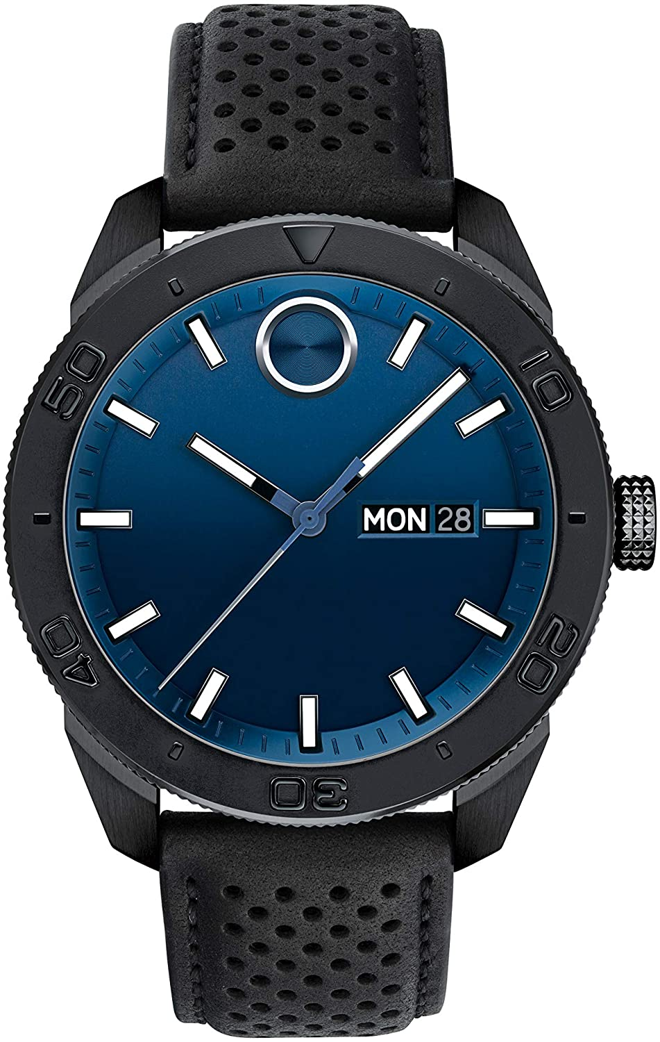 Movado Men's BOLD Sport Black PVD Watch with a Printed Index Dial, Blue/Black (Model 3600495)