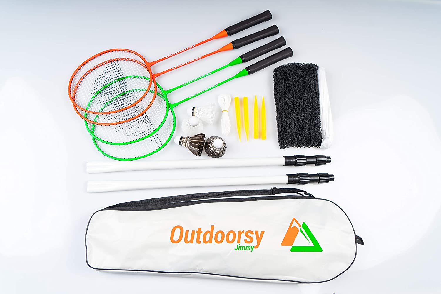 OutdoorsyJimmy Complete Badminton Sets for Backyards - Premium Set Includes Badminton Rackets Set of 4, Portable Badminton Net with Expandable Poles, 4 Birdies/Shuttlecocks & Storage Travel Bag
