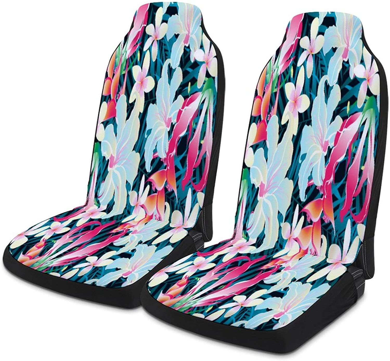 Colorful Tropical Flowers Universal Fit Car Seat Covers, 2pc Auto Front Drive Seats Protector Compatible Fits for Most Car SUV Sedan Truck Van