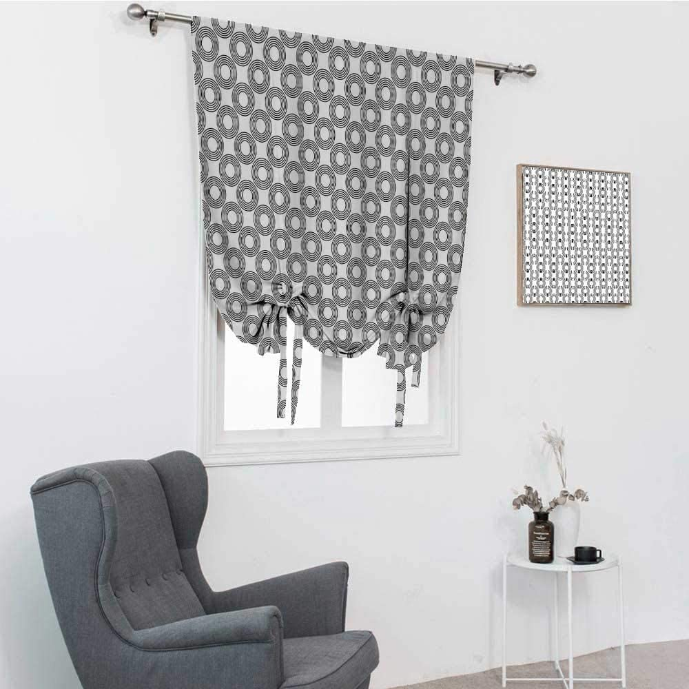 Geometric Circle Roman Shades for Windows, Vinyl Records Inspired Concentric Rings with Curve Grids Artwork Print Room Darken Curtains, Black Gray, 48