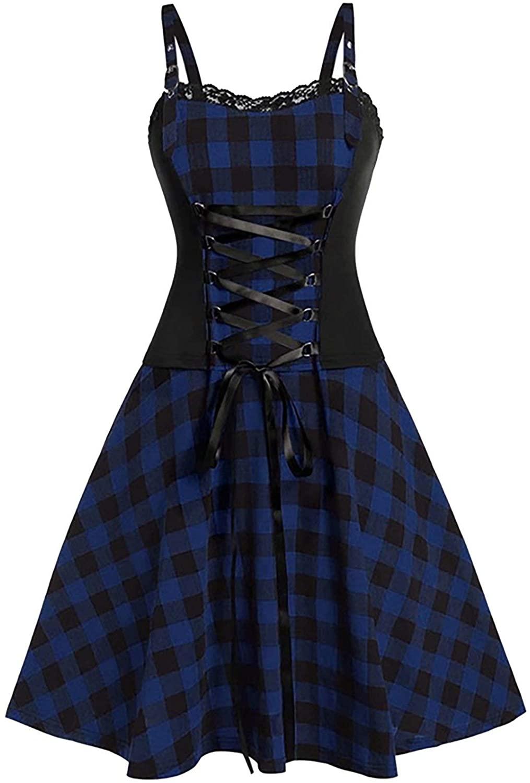 Women Plaid Punk Gothic Plaid Dresses