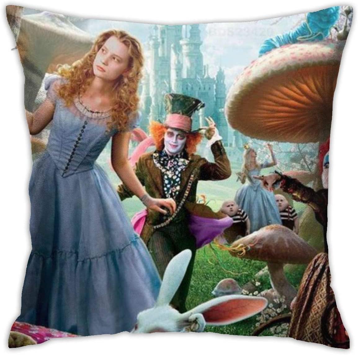 Pooizsdzzz Alice in Wonderland Pillowcase Covers 18x18 Decorative Sofa Seat Car Soft