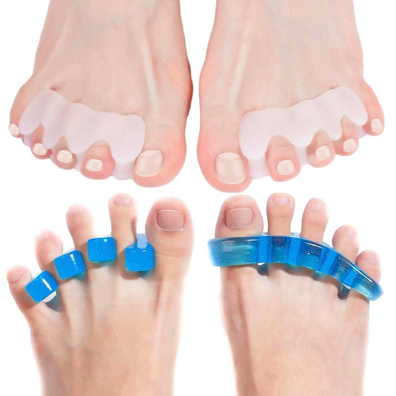 Anatomical Toe Separators and Blue Gel Toe Separators Bundle | Hammer Toe & Bunion Corrector For Men & Women | Use for Pedicure, Yoga & Running