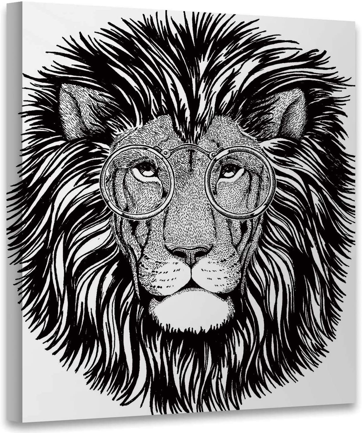 Hitecera Wild Hipster Lion for Tattoo,Picture Painting Artwork for Bathroom Logo for Bathroom 8x8 Inches