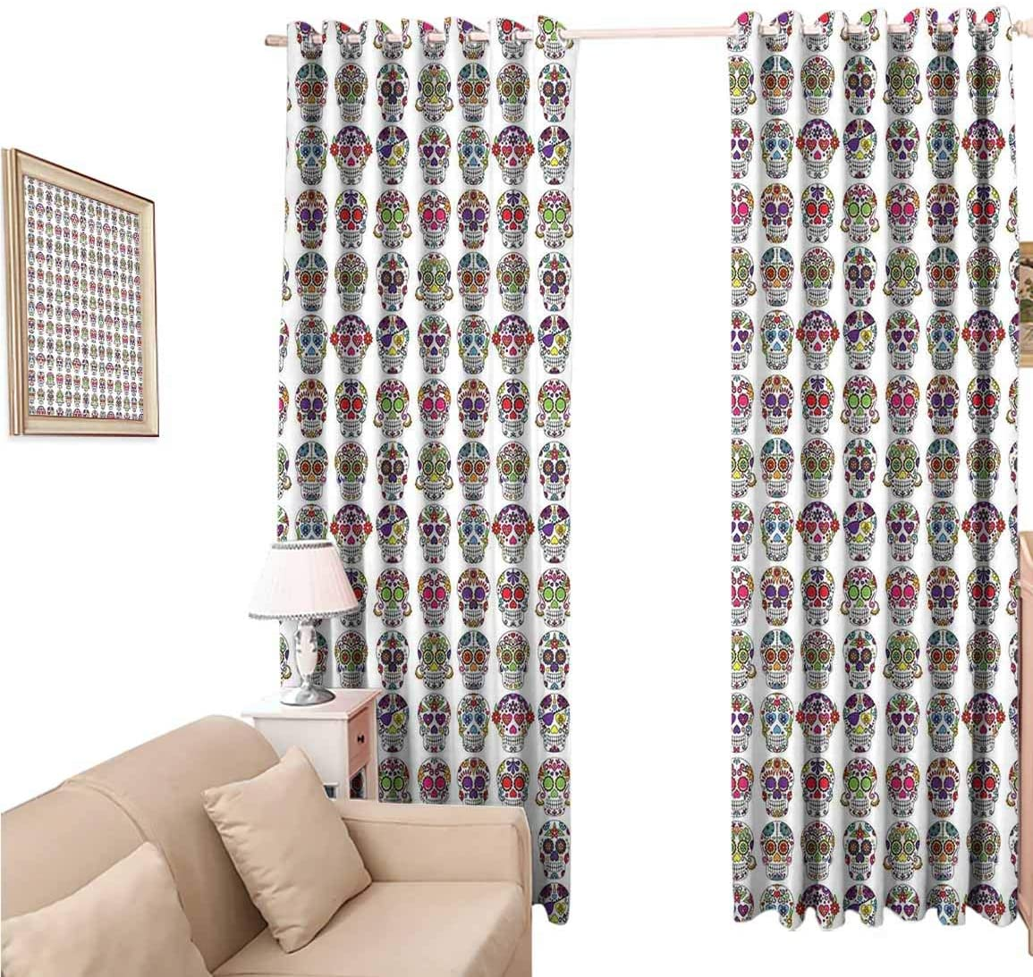 Blackout Curtains, Skullsations Day of The Dead Colorful Sugar Skulls with Flower s, Eclipse Curtain 108 Inches Long for Cottage, 120x108 inch