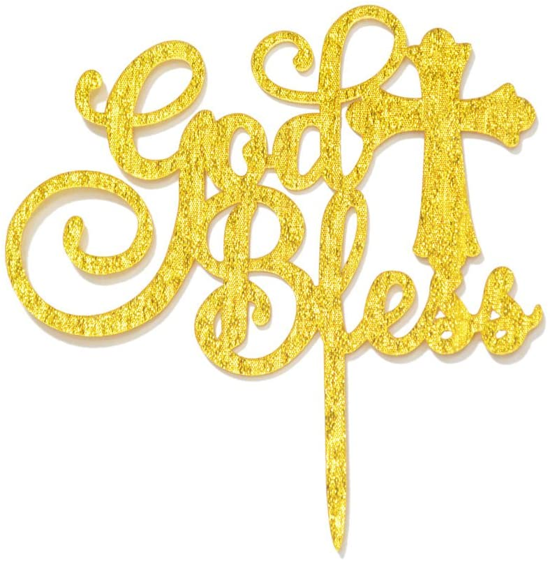 God Bless Acrylic Cake Topper for Baptism, Christening, Dedication or First Communion Decorations(Gold)