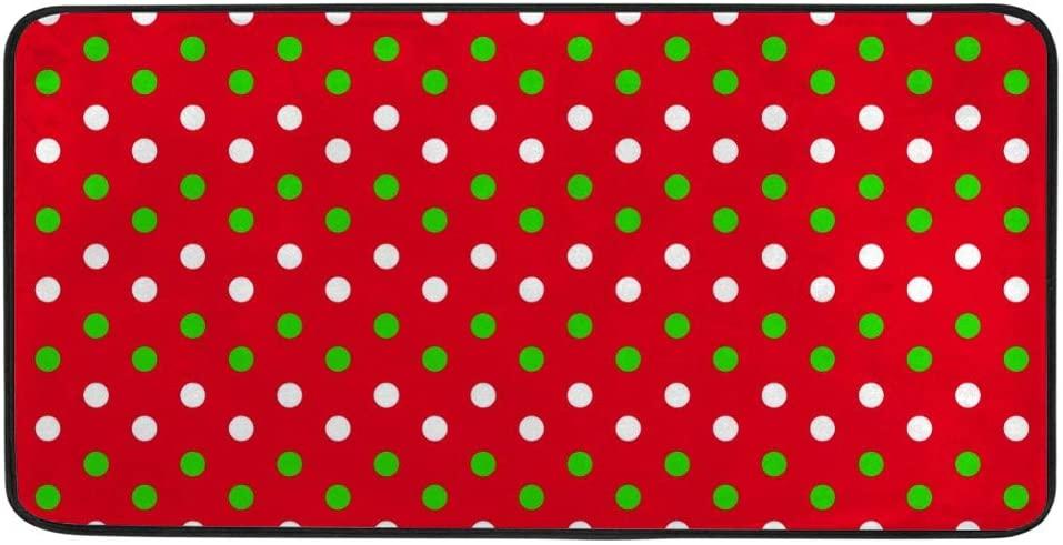 Kitchen Floor Mat Area Mat Christmas Dot Background Decor Absorbent Soft Runner Rug for Hallway Entryway Bathroom Living Room Bedroom 39x20 inch