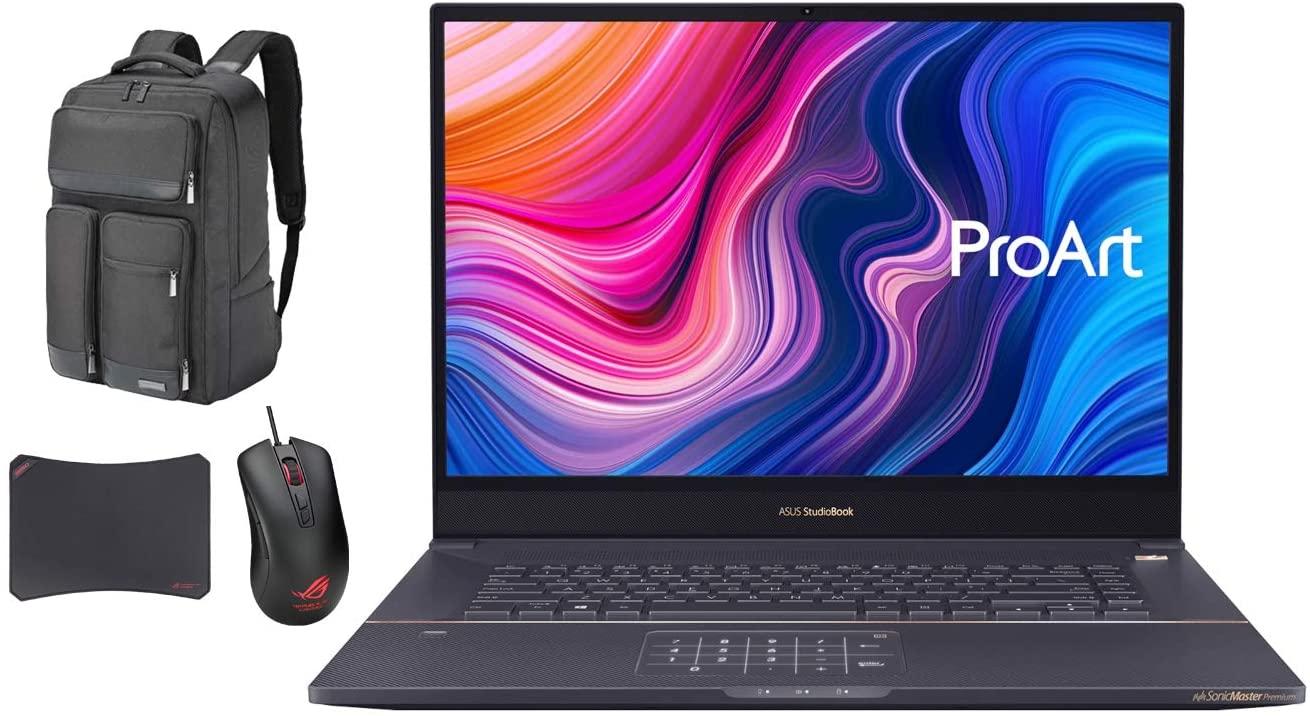 ASUS ProArt StudioBook Pro 17 W700G3T Workstation Laptop (Intel Xeon E-2276M 6-Core, 32GB RAM, 2x8TB PCIe SSD RAID 1 (8TB), Win 10 Pro) with Atlas Backpack, Harrier GT300, GM50 Pad